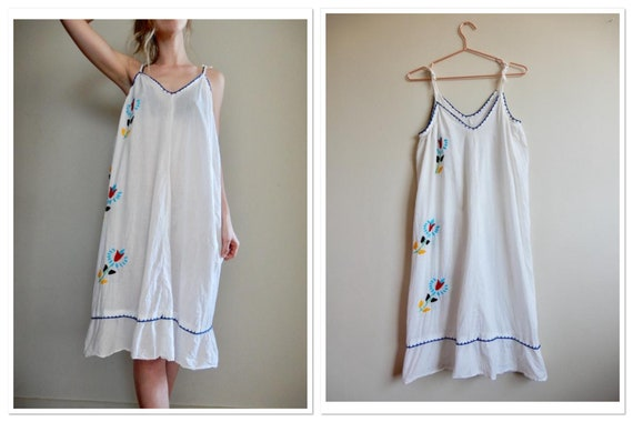 1970s Embroidered Sheer Vintage Sundress/Beach Cov