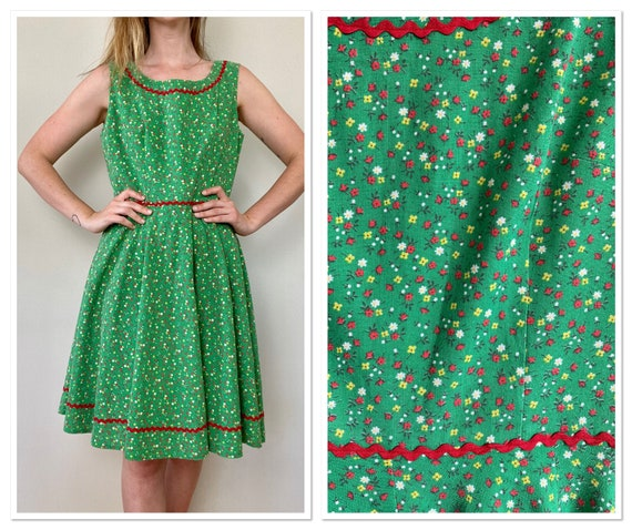Vintage 1970 Green and Red Calico Floral Summer Dr