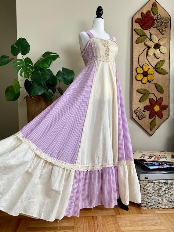 1970s Purple Gingham Gunne Sax Sundress Size 5 - image 3