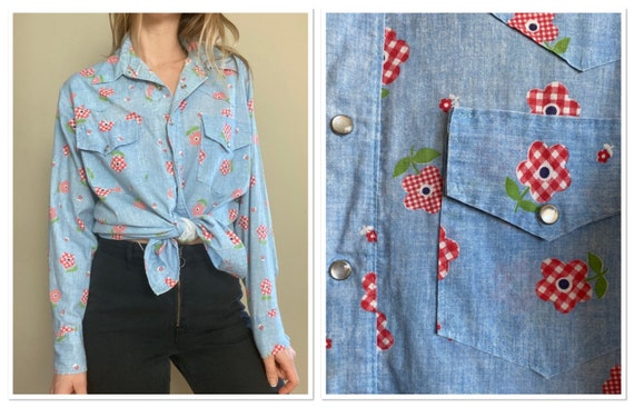 1970s Chambray Pearl Snap Button Up with Gingham F