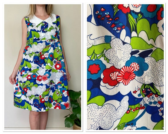 Vintage 1960s Psychedelic Print Collared Dress Lar