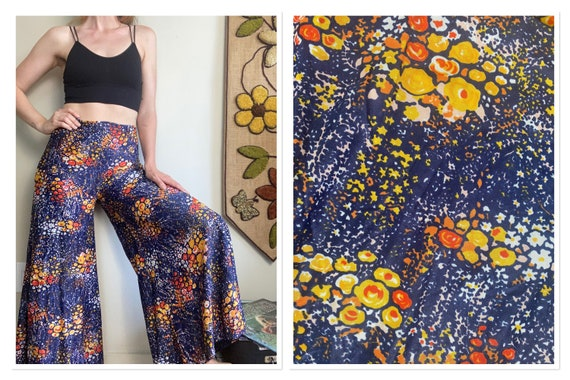 1970s Psychedelic Navy Blue Palazzo Pants - image 1