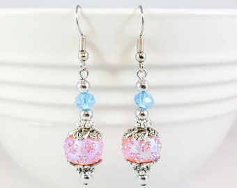 Iridescent Pink, Light Blue and Antiqued Silver Dangle Earrings, Pink, Blue and Silver Leaf Dangle Earrings, Pink and Blue Drop Earrings