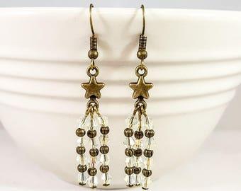 Shooting Stars Dangle Earrings, Bronze Earrings, Faceted Crystal Earrings, Astronomy Earrings, Celestial Earrings, Star Earrings