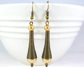 Gold Pearl Dangle Earrings, Coiled Earrings, Tapered Earrings, Bronze Earrings, Pearl Earrings, Futuristic Earrings, Statement Earrings