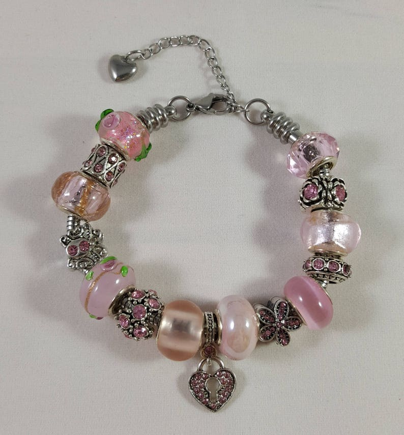 Stainless Steel Pink Bead and Crystal European Charm Bracelet