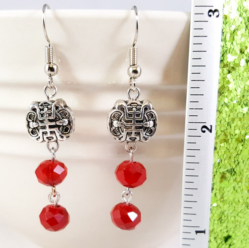 Crystal and Silver Dangle Earrings Crimson and Antiqued Silver Asian Inspired Dangle Earrings Red and Silver Asian Inspired Drop Earrings