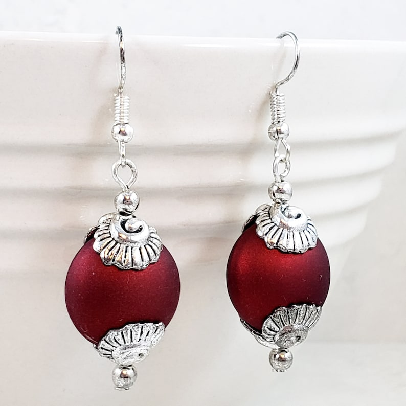 Matte Red and Silver Clamshell Dangle Earrings
