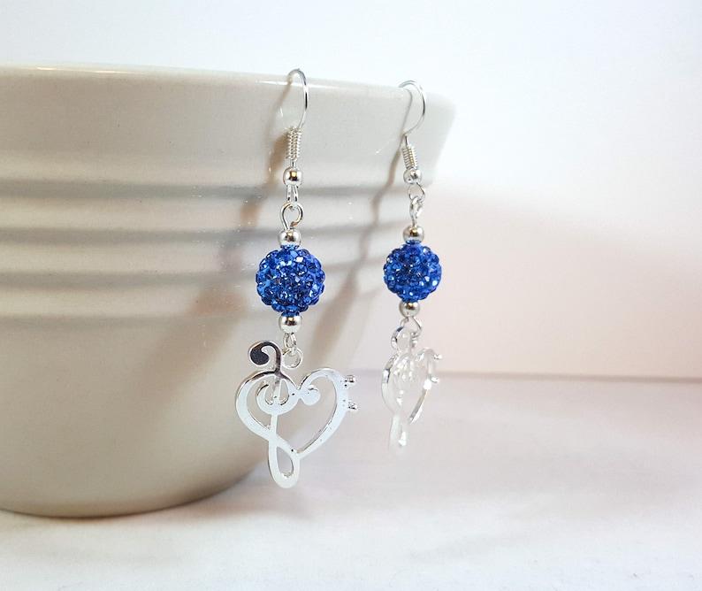 9d91346e89b9a Bass and Treble Clef Dangle Earrings, Music Lover, Musician Gift, Silver  Earrings, Blue Earrings, Silver Plated Earrings