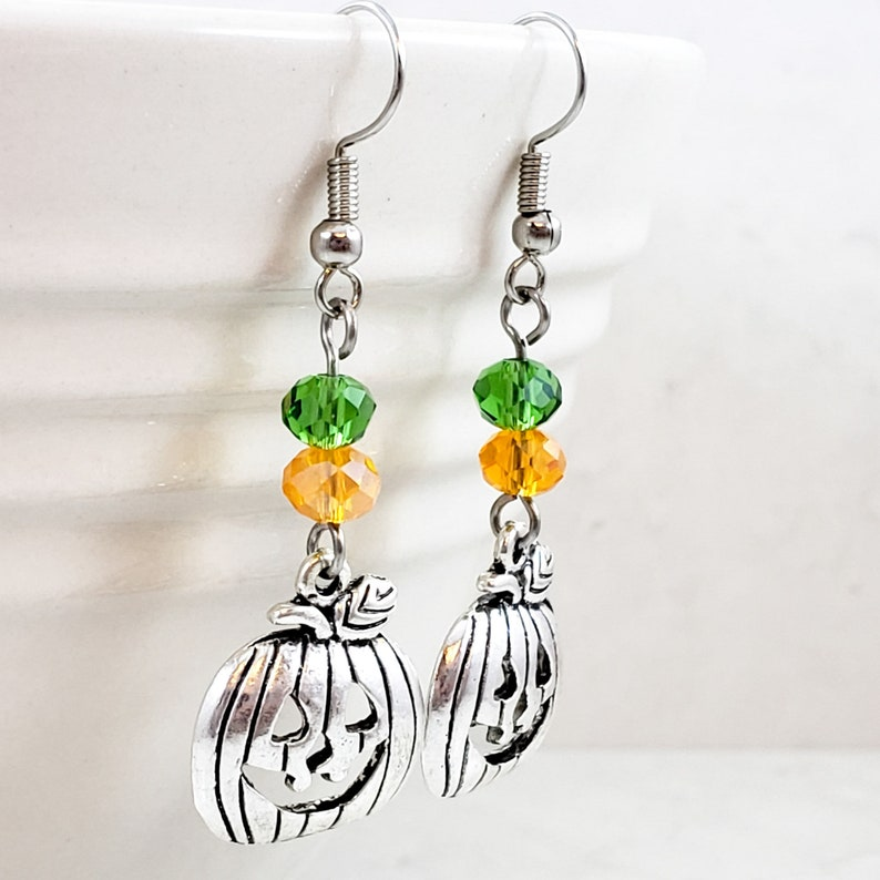 Green and Silver Jack-O-Lantern Dangle Earrings Jack-O-Lantern Dangle Earrings Pumpkin Drop Earrings Orange Halloween Earrings