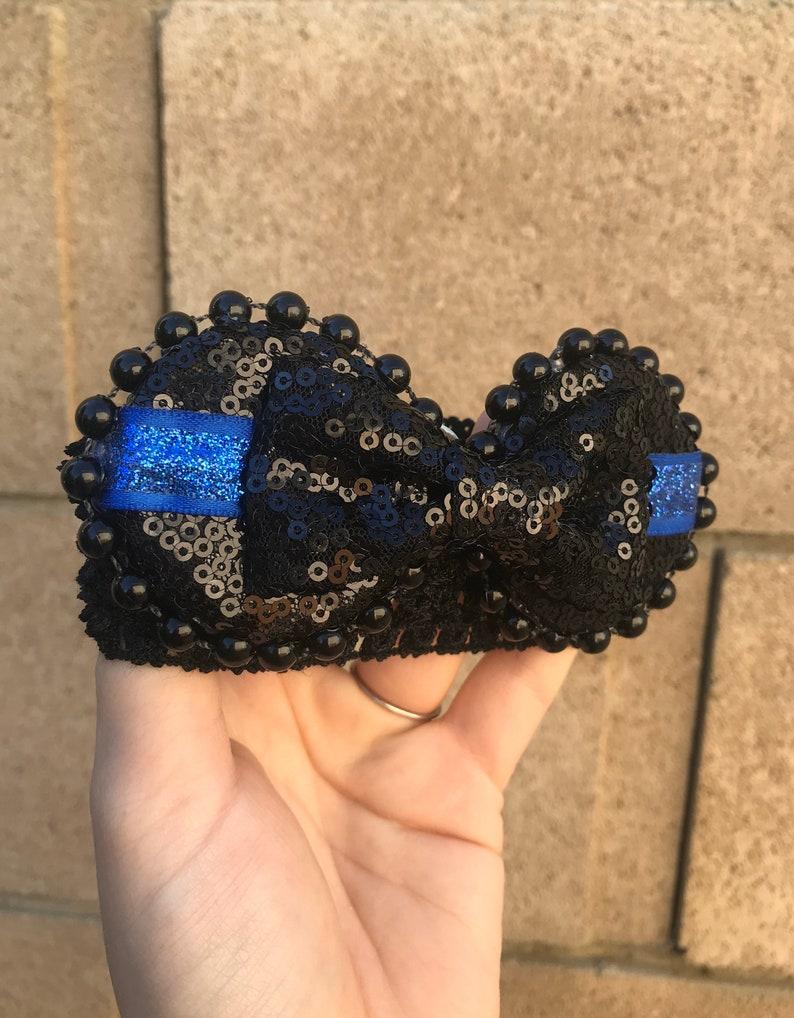 Thin Blue Line Baby Headband Mickey Ears Baby Headband Minnie Ears Thin Blue Line Headband Minnie Headband