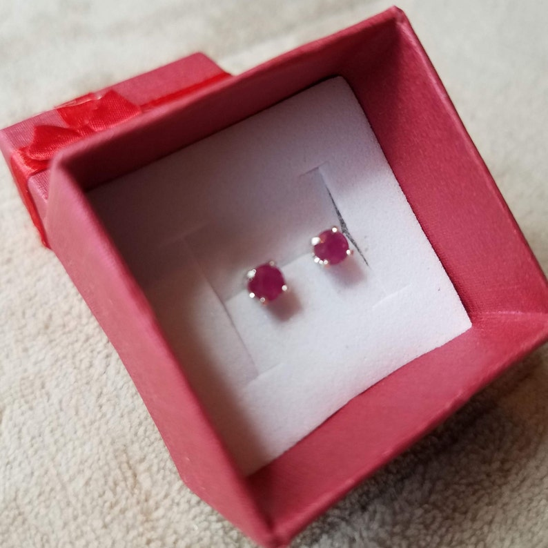 Unheated and Untreated Set in Sterling Silver. Mozambique Ruby Stud Earrings AAA Certified Natural 4mm Round Blood Red Ruby Faceted