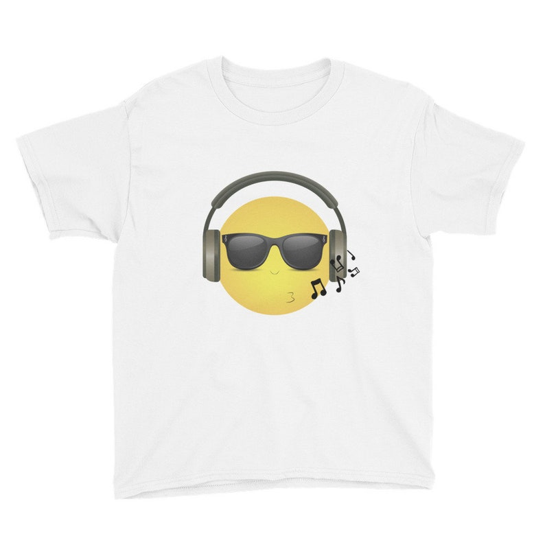 Whistling COOL Emoji with Music Headphones & Black Shades - Youth Short  Sleeve T-Shirt