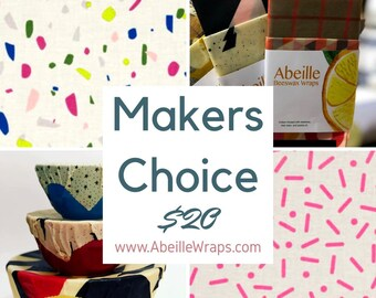 Pack of 4 - reusable beeswax wraps - Makers Choice