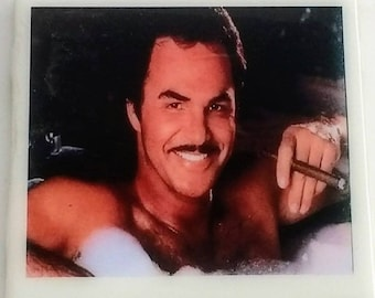 a0b14b996aa Burt Reynolds coaster cigar in hot tub Smokey and the Bandit famous  moustache The Best Little Whorehouse in Texas icon The Cannonball Run