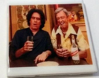 "Three's Company coaster ""Paradise Lost"" episode Larry & Mr. Furley get drunk Richard Kline Don Knotts scheme bon voyage party John Ritter"