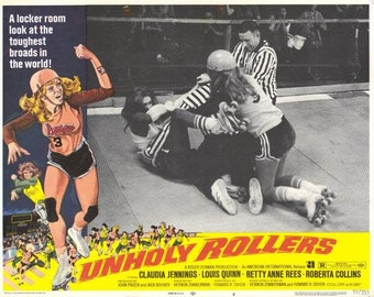Unholy Rollers (1972) movie poster 11 x 14 Claudia Jennings roller derby film Louis Quinn Roberta Collins American International Pictures