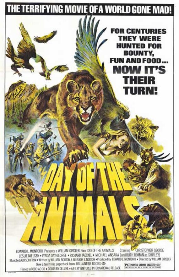 Day of the Animals (1977) 11 x 17 movie poster Christopher George animal  attack horror film Leslie Nielsen wrestles grizzly bear Lynda Day