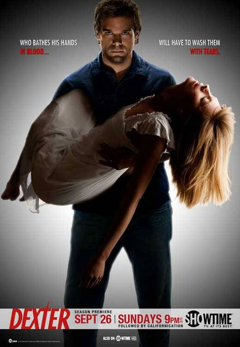 Dexter (2010) 11 x 17 TV show poster Season 5 Dexter Morgan Michael C  Hall  blood spatter Miami Metro Police Jennifer Carpenter James Remar