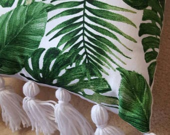Tropical print rectangle cushion tassell edge