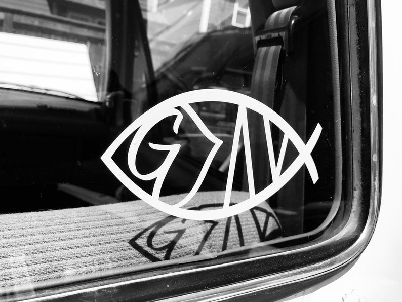 Jesus Fish - God is Greater than the Highs and Lows car decal