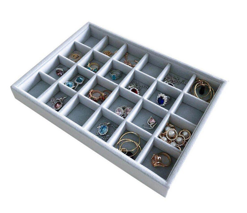 Medium Size Practical Drawer Storage Organizer Multi Function Stackable Premium Quality Velvet Fabric for Collectibles Jewelry 24 Grids