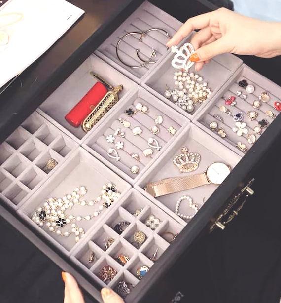 Velours 100 boîte de rangement bijoux ring display plateau organisateur titulaire cas tidy