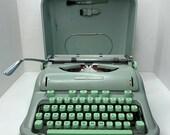 Vintage Hermes 3000 Seafoam Typewriter Case Brushes Key Cursive Switzerland