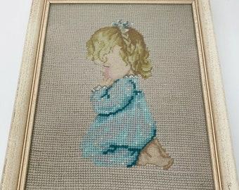 Child with Dog Vintage needlepoint nursery babys room