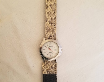 Diamondback Rattlesnake Skin Hook and Loop Wrap Around Watch Band