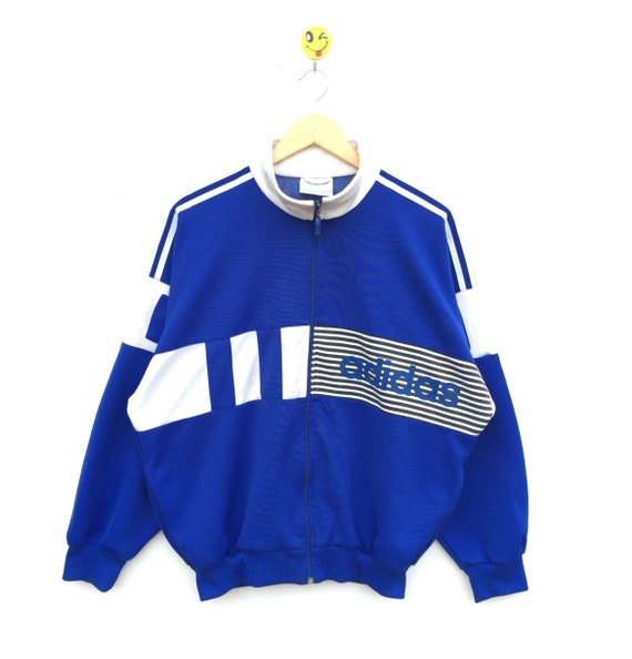 VINTAGE!!! ADIDAS Adidas 90's Track top with nice blue colour and nice design 90's Design Vintage ColourBlock Blue And White Colou