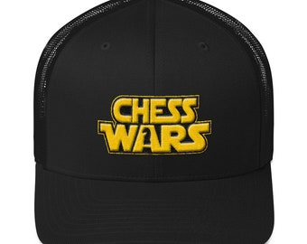 2ebf114a847 Gift for Chess Player - Chess Trucker Cap - Chess Wars Knight Cap - Trucker  Cap