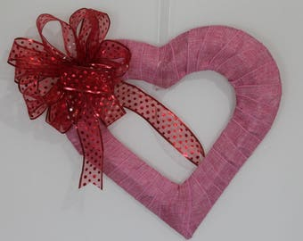 Pink Burlap Wreath with red bow
