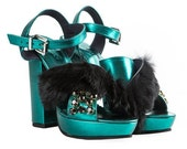 SPARKLING GREEN metallic leather platform sandals with black fur Funky PINK metallic sandals with swarovski crystals Genuine leather shoes