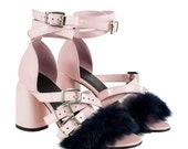 PINK strap sandals with black fur detail Strap leather shoes Funky summer sandals PINK PATENT leather heels with black fur Buckle closure