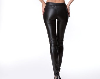 834a57bd615119 Real LEATHER LEGGINGS Classic leggings for women Stretch leather leggings  Straight leather pants with zipper Middle waist leggings