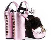 SHINY PINK metallic leather platform sandals with black fur Funky GREEN metallic sandals with swarovski crystals Genuine leather shoes
