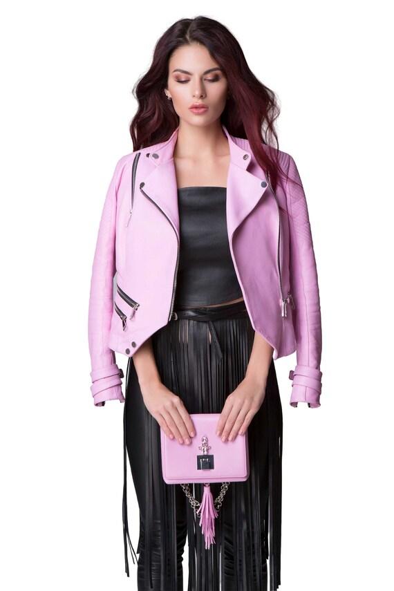Leather Jacket for Women Biker Soft Lamb Ladies Biscuit Beigh All Season wear