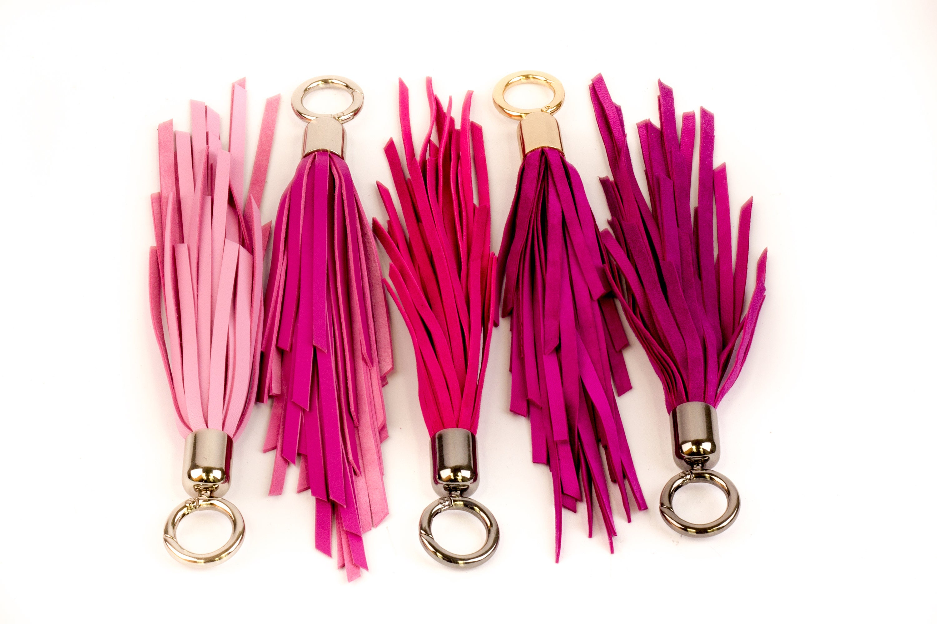 PINK Leather TASSEL key chain PURPLE bag tassel genuine  5e6133d23