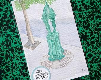 "Original watercolor of Paris ""Wallace Fountain"""