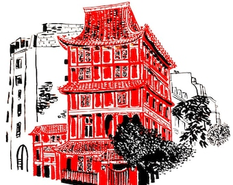 "Original drawing of ""La Maison Woo"""