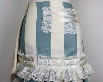 Cream and gold apron with lace Fancy hosting apron.