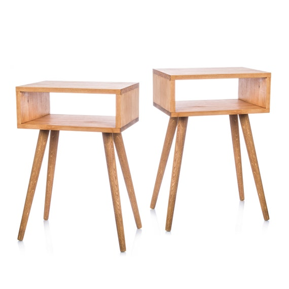 Pair nightstands Solid Pine Bedside Tables Danish modern Mid century modern  furniture pine