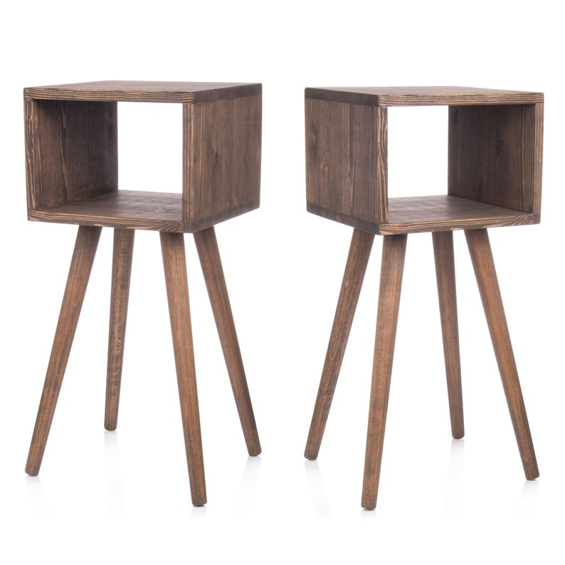 Pair Bedside Tables Modern Nightstands 50s pine furniture