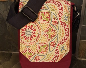 Small Vertical/Small/Large Colorful Mandala Messenger Bag, Red with adjustable strap