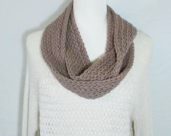 Taupe Infinity Scarf, Crochet Infinity Scarf, Handmade Scarf, Crochet Scarf, Women's Scarf, Wrap Scarf, Light Weight Scarf, Fashoin Scarf