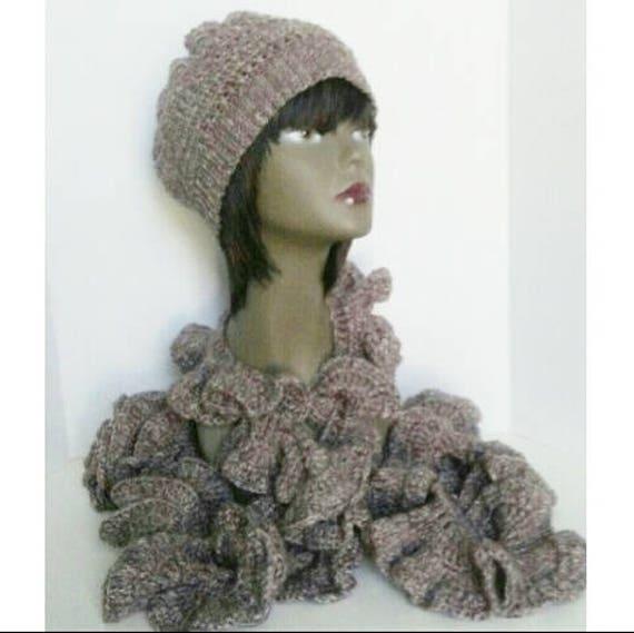 Crochet Beanie Hat and Spiral Scarf Brown Crochet Beanie Hat  15825c33872