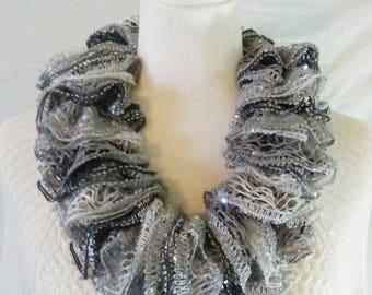 Black, White & Gray Ruffle Cowl/Neck Warmer, Ruffle Neck Warmer, Ladies Neck Warmer, Fashion Cowl, Crochet Cowl, Crochet Neck Warmer, Gift