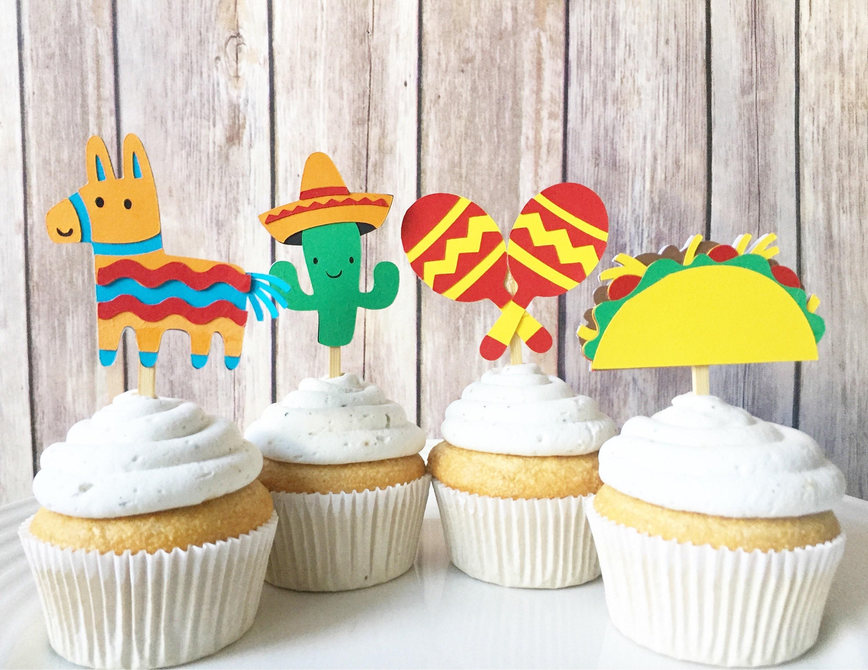 Fiesta Party Cupcake Toppers Mexican Party Cinco de Mayo ...