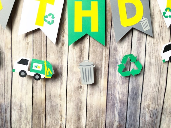 Party Supplies Blippi Party Trash Can First Birthday Recylcle Trash Truck Garbage Truck Party Garland
